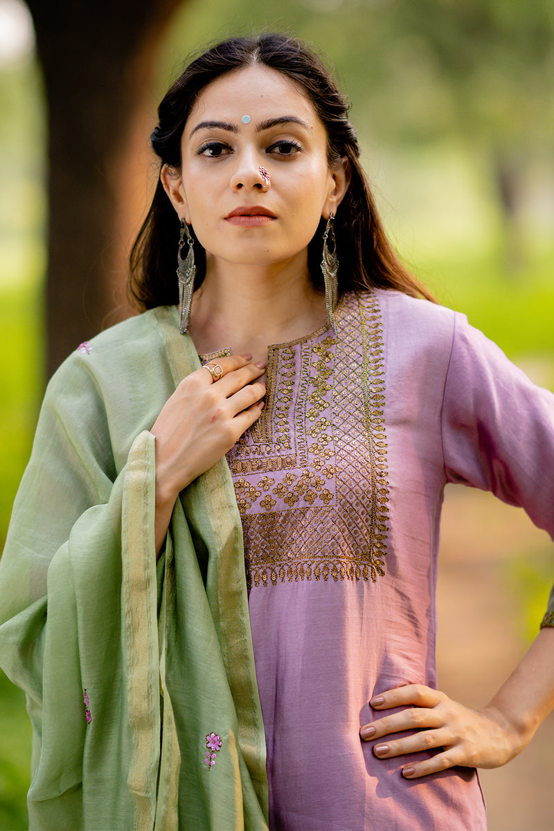 Zeenat Embroidered Kurta Set with Dupatta (Set of 3)