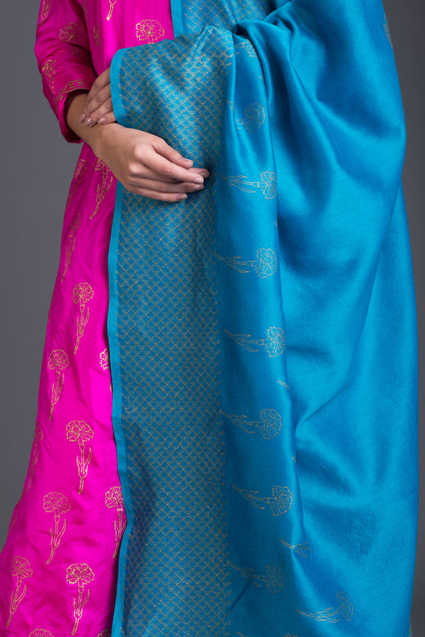 Pink Sapphire Lily Set with Turquoise Dupatta (Set of 3)