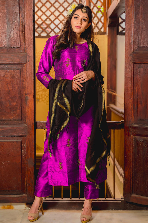 Purple Quartz Aari Raw Silk Kurta