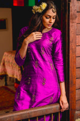 Purple Quartz Aari Kurta Set with Dupatta (Set of 3)