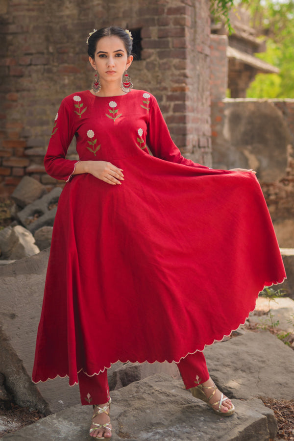 Crimson Mogra Scalloped Swing Kurta