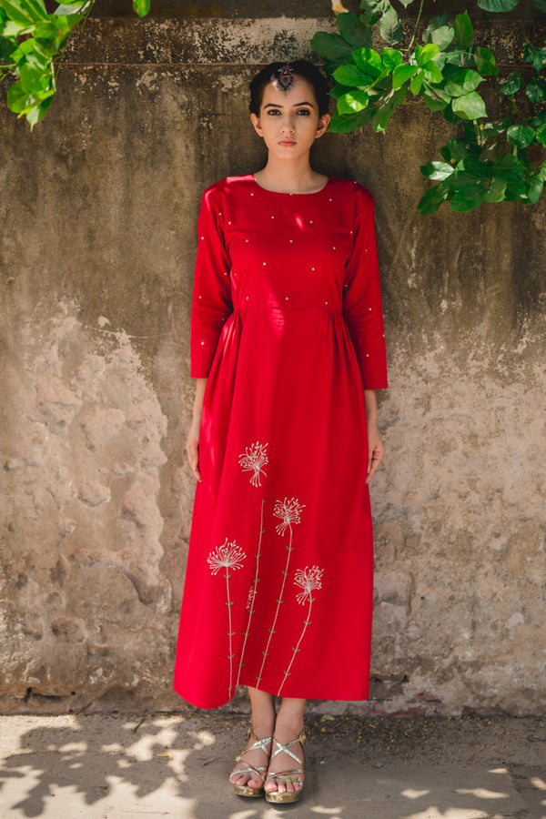 Red Dandelion Embroidered Fit & Flare Dress