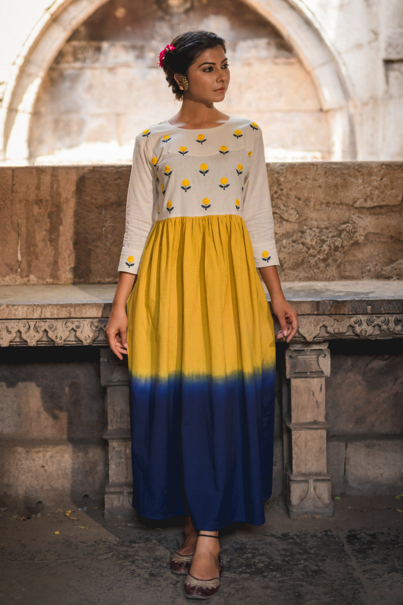 Mustard Sapphire Shaded Mogra Emboridered Dress