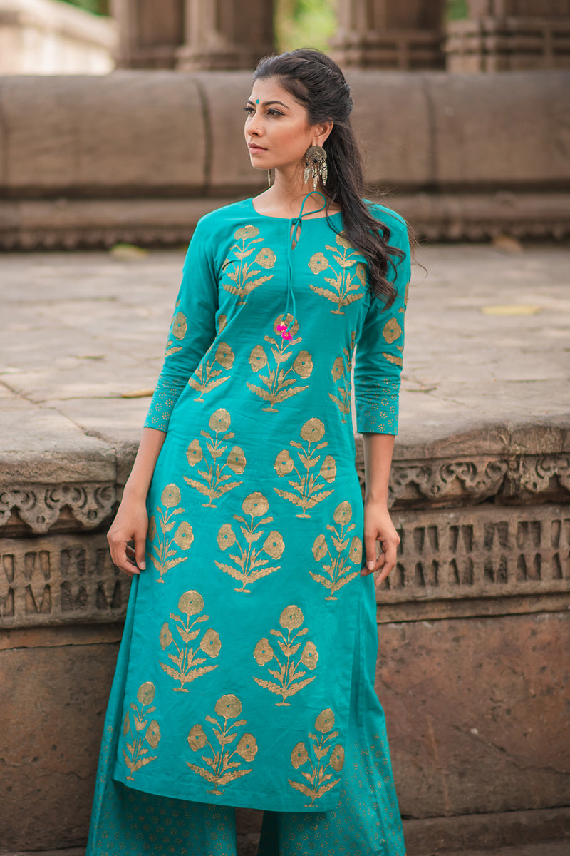 Turquoise Block Printed Cotton Kurta
