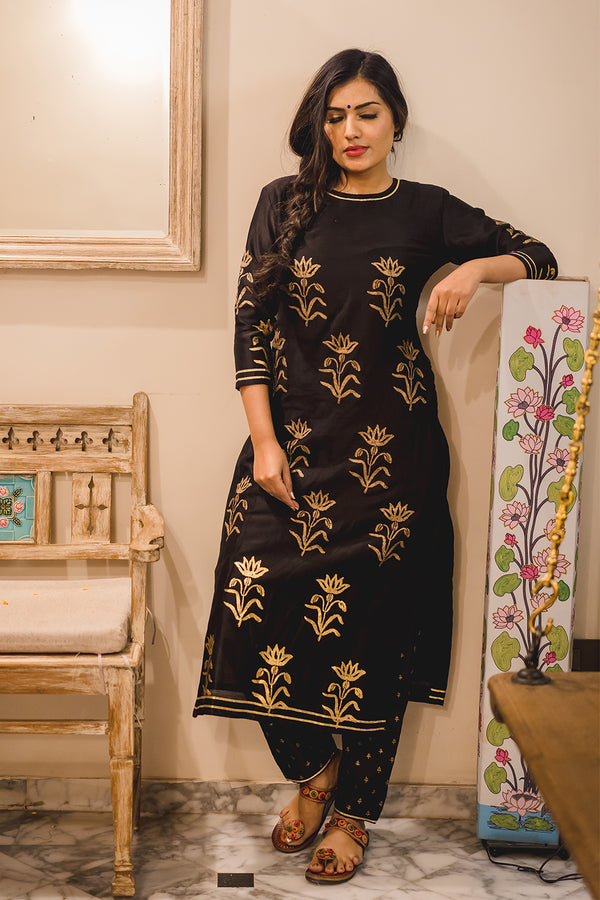 Alpana Block Printed Kurta Set with Dupatta (Set of 3)