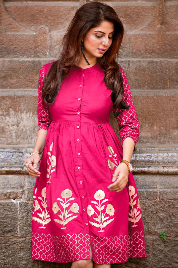 Pink Handblock Printed Fit & Flare Dress
