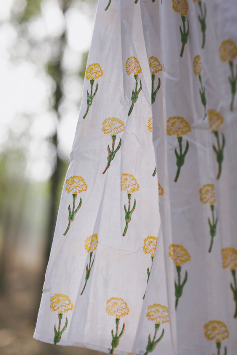 Marigold Floral Cotton Twirl Dress