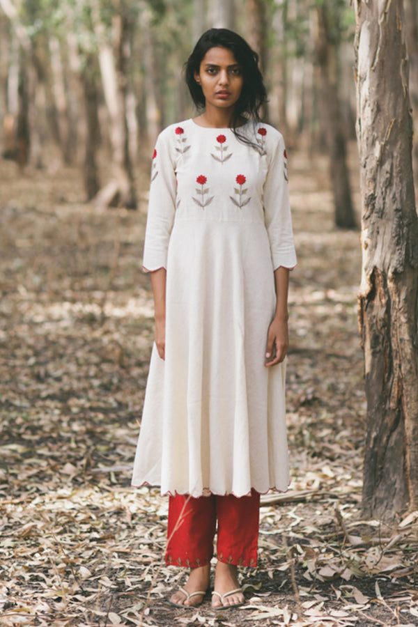 Ivory Mogra Scalloped Swing Kurta & Pant (Set of 2)