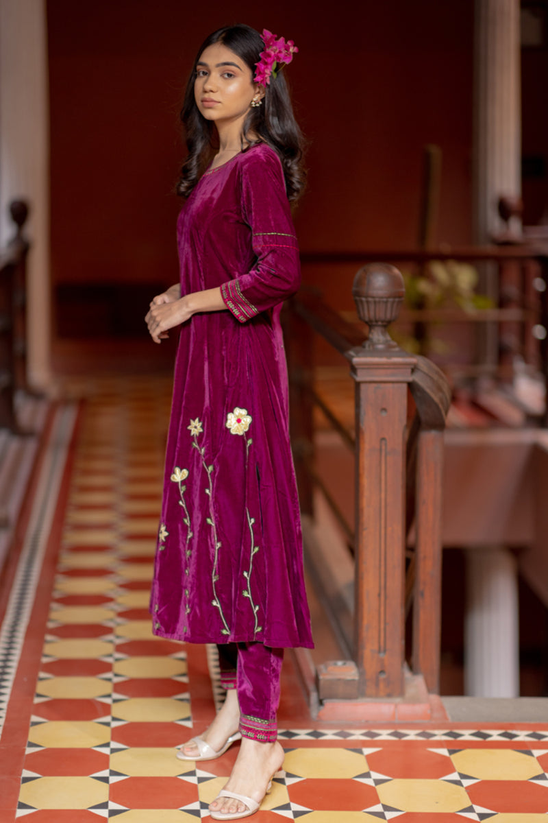 Wine Velvet Floral Embroidered A-Line Kurta