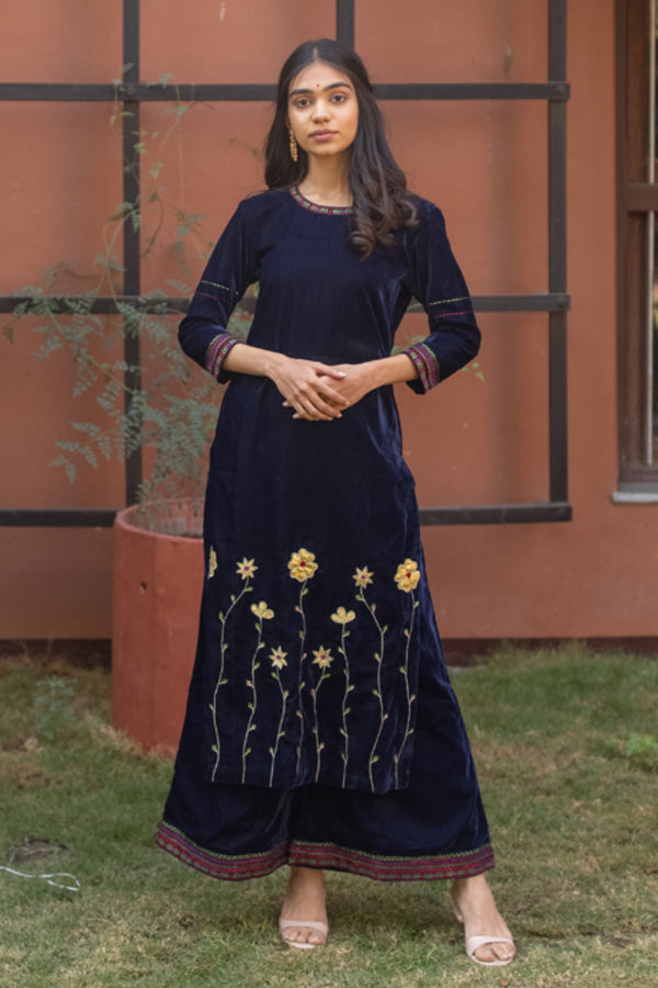 Blue Velvet Applique Embroidered Kurta