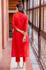 Red Gold Floral Embroidered Kurta