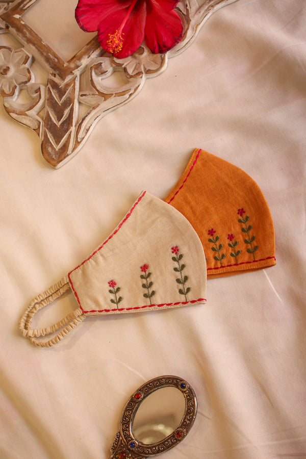 Ivory & Orange Embroidered Masks (Set of 2)