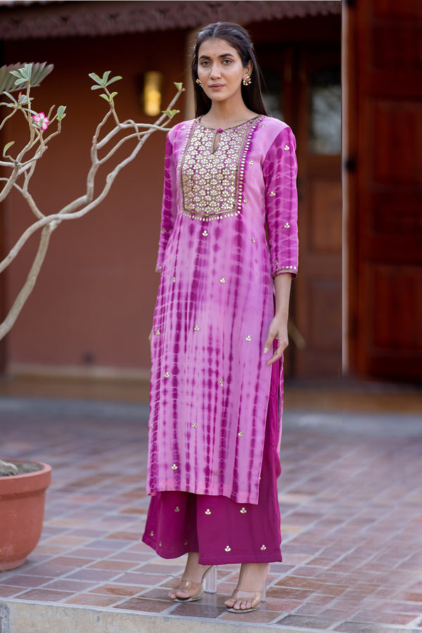 Chitra Gota Embroidered Kurta & Palazzo (Set of 2)