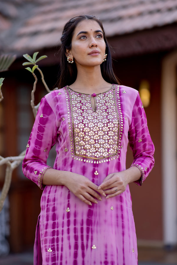 Chitra Gota Embroidered Georgette Kurta