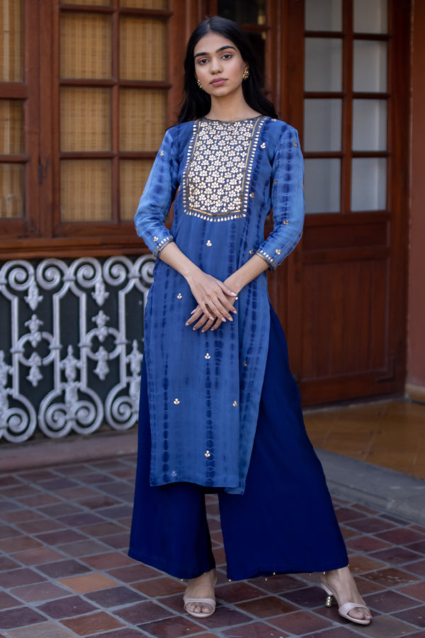 Neelam Gota Embroidered Georgette Kurta