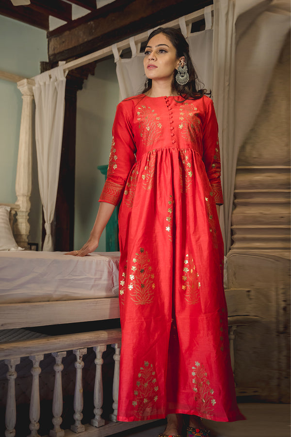 Zubeida Red Chanderi Dress