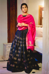 Black Cycle Lehenga Set with Dupatta (Set of 3)