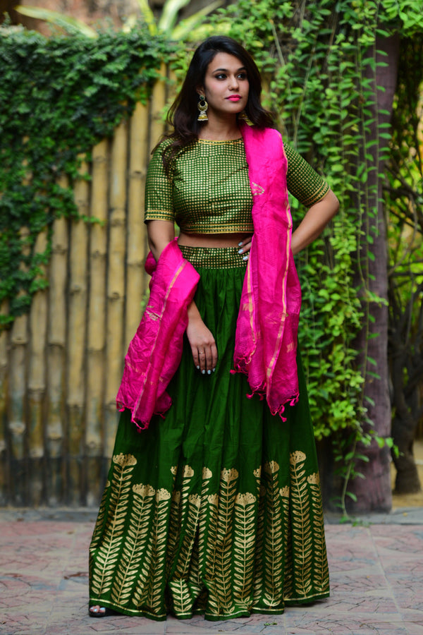Green Lotus Lehenga Set With Dupatta (Set of 3)