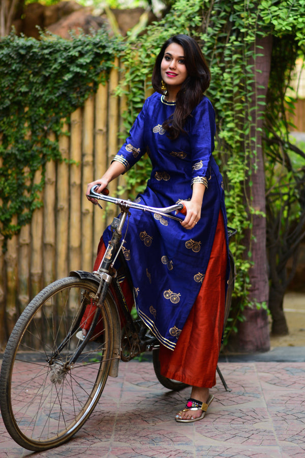 Navy Blue Cycle Printed Kurta & Palazzo (Set of 2)