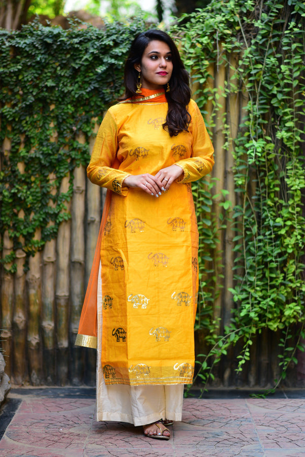 Mustard Elephant Kurta Set With Dupatta (Set of 3)