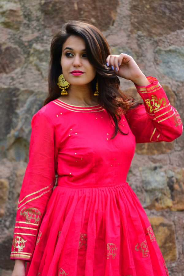Rani Pink Elephant Printed Anarkali Dress