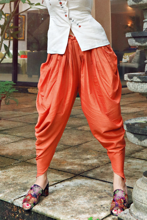 Orange Cotton Dhoti Pants