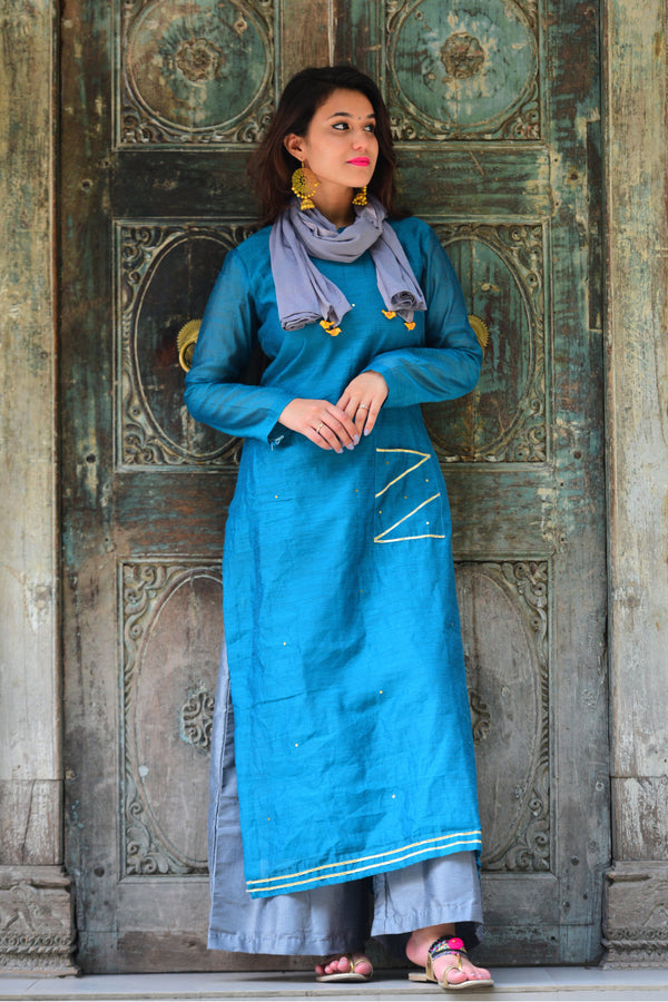Turquoise Kurta Set with Dupatta (Set of 3)