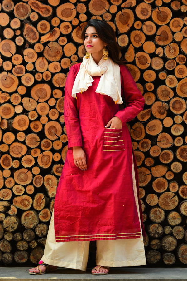 Earthy Red Kurta Set with Dupatta (Set of 3)
