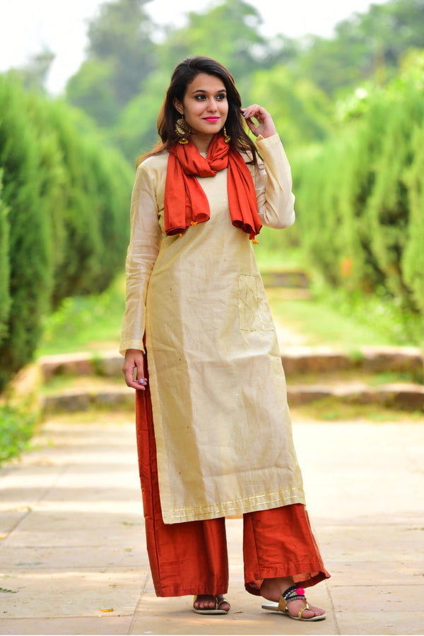 Cream Red Kurta Set with Dupatta (Set of 3)