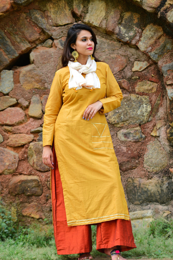 Mustard Red Kurta Set with Dupatta (Set of 3)