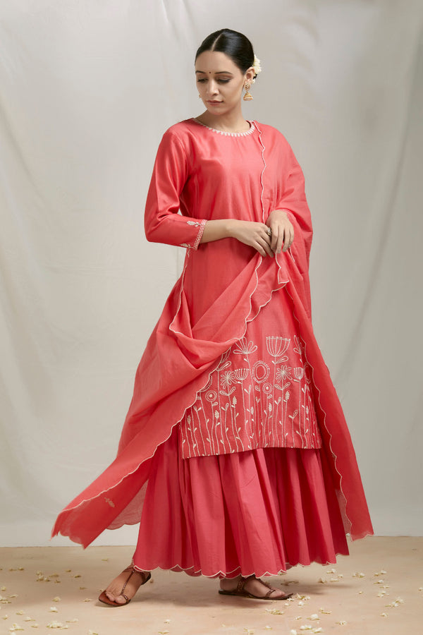 Coral Pink Embroidered Kurta Sharara Set with Dupatta (Set of 3)