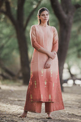 Apricot Peach Fish Kurta Set with Dupatta (Set of 3)