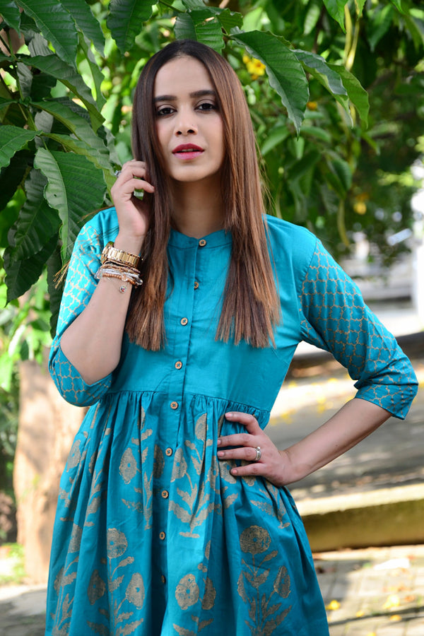 Turquoise Handblock Printed Fit & Flare Dress
