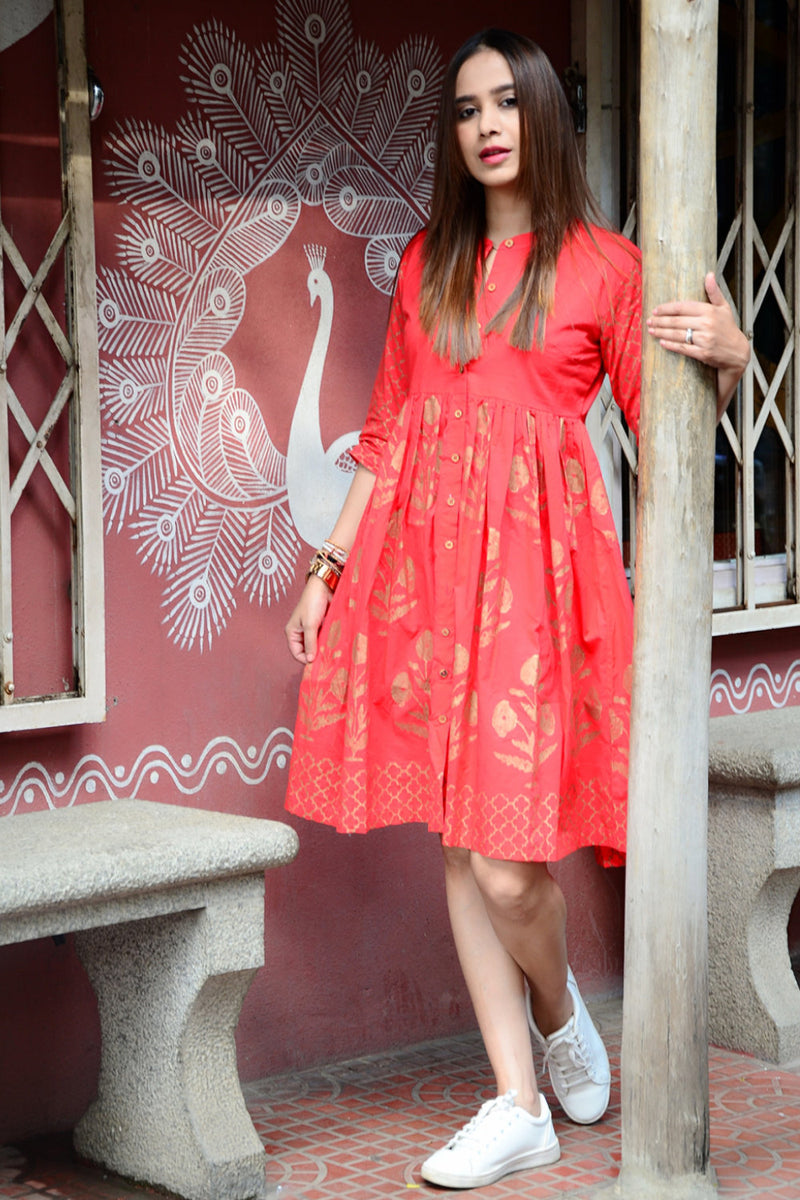 Red Handblock Printed Fit & Flare Dress