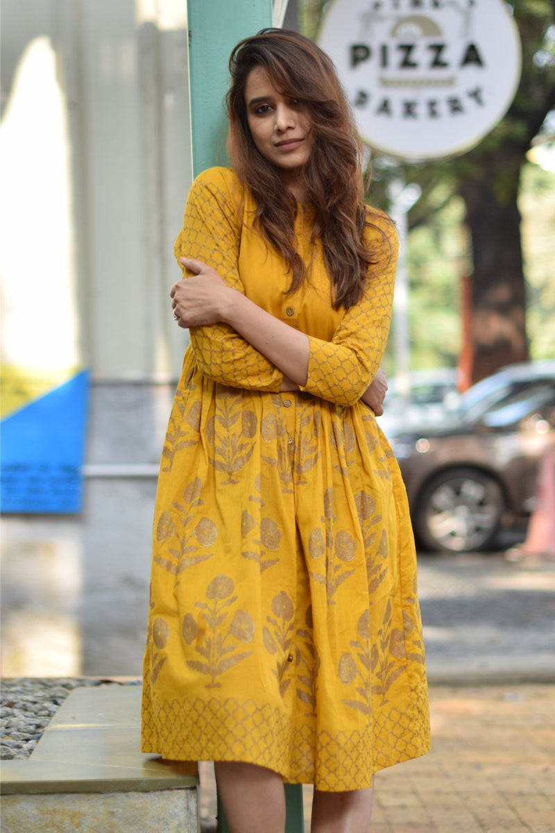 Mustard Handblock Printed Fit & Flare Dress