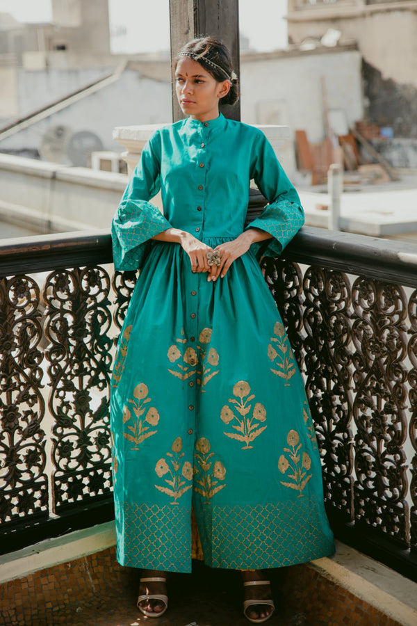 Turquoise Block Printed Maxi Dress