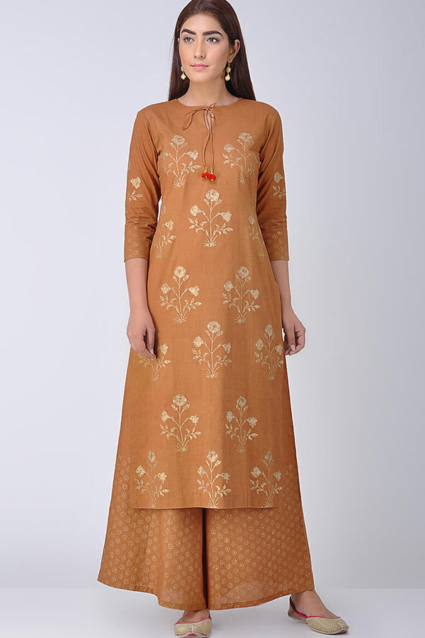 Rust Block Printed Kurta & Palazzo (Set of 2)