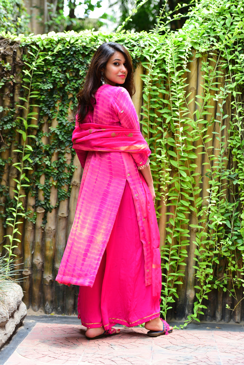 Onion Pink Gota Patti Set with Dupatta (Set of 3)