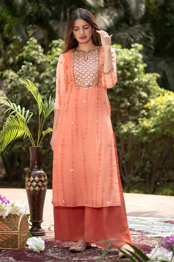Tara Gota Embroidered Georgette Kurta