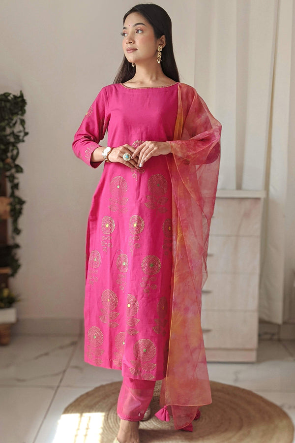 Pink Handblock Printed Kurta Set with Scarf (Set of 3)