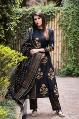 Black Mughal Bootah Kurta Set with Black Dupatta (Set of 3)