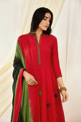 Red Applique Embroidered Kurta