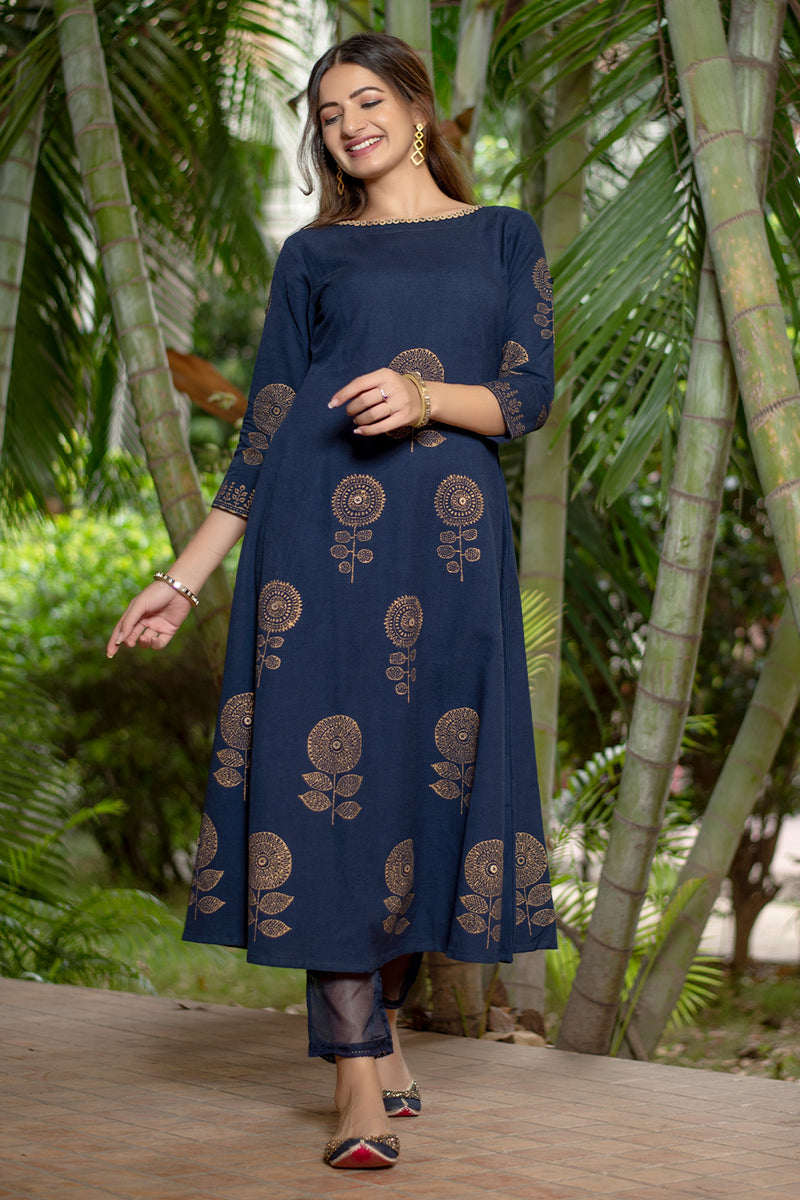 Navy Blue Block Printed Kurta Set with Scarf (Set of 3)