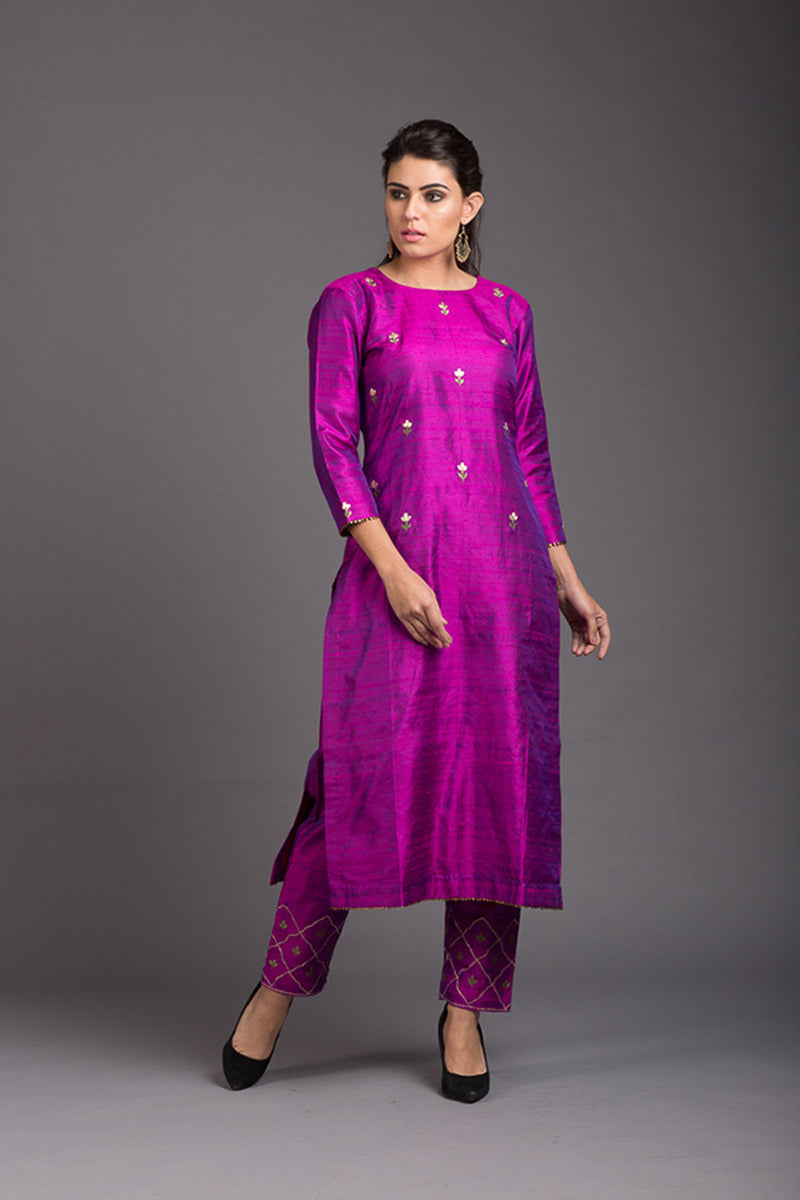 Purple Quartz Floral Embroidered Kurta & Pant (Set of 2)