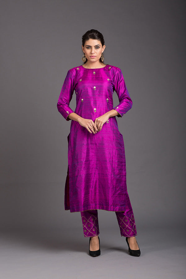 Purple Quartz Floral Embroidered Kurta