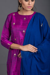 Purple Quartz Floral Embroidered Set with Blue Dupatta (Set of 3)