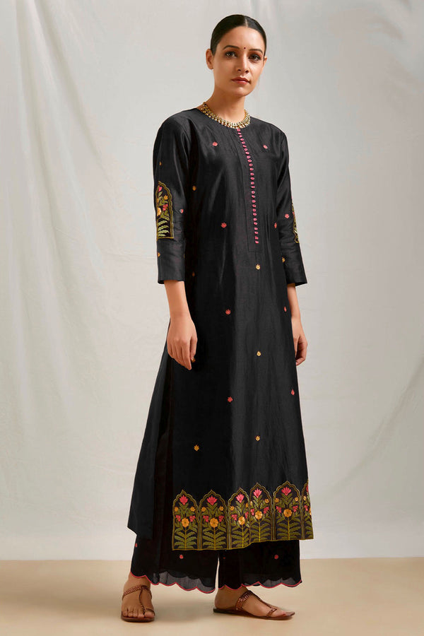 Black Embroidered Kurta & Scalloped Palazzo (Set of 2)