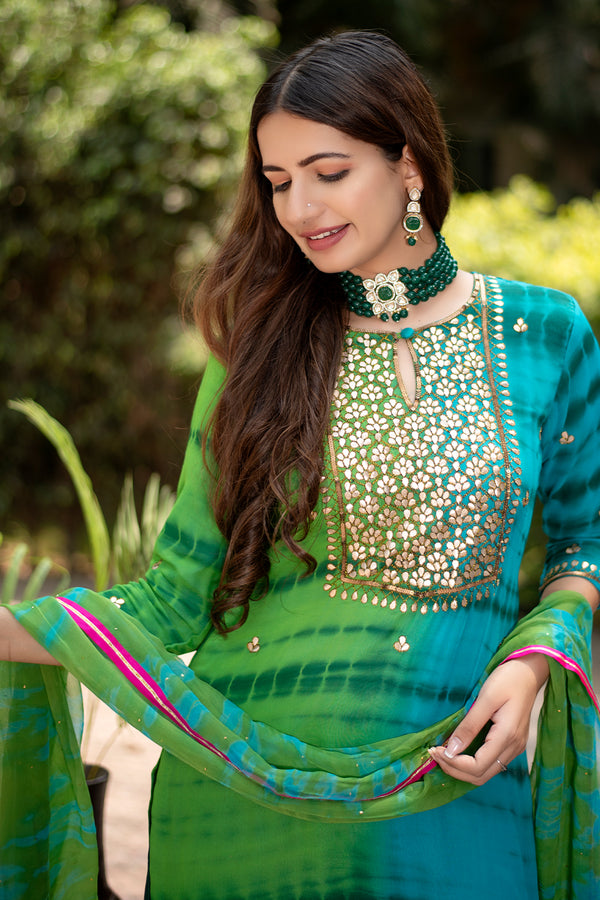 Blue-Green Pure Chiffon Dupatta