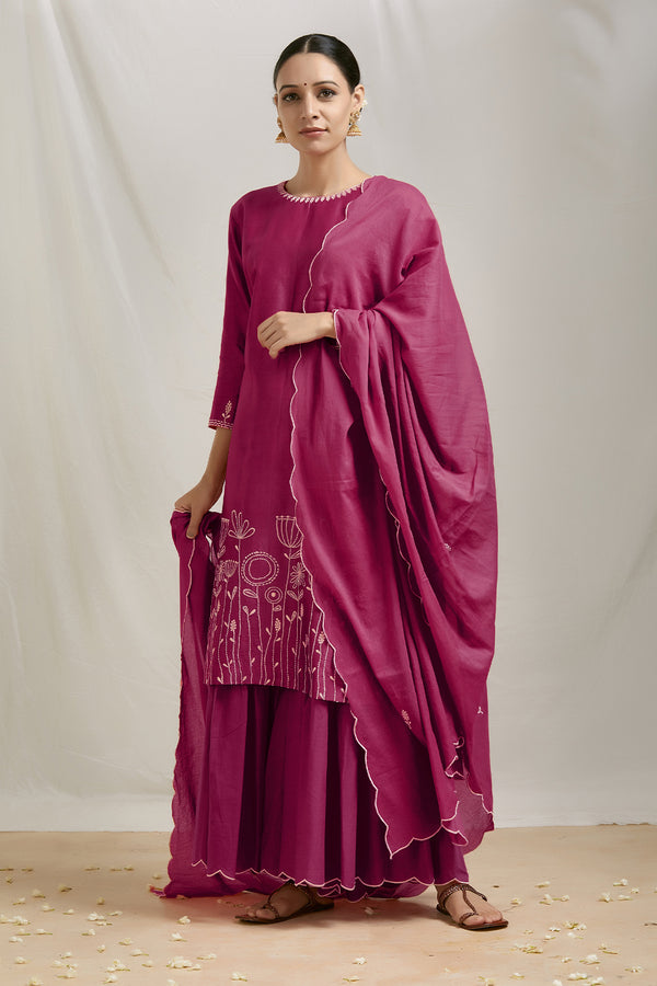 Burgundy Embroidered Kurta Sharara Set with Dupatta (Set of 3)