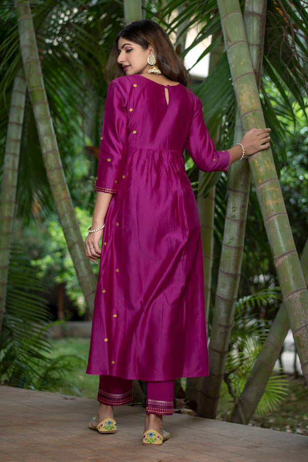 Burgundy Pintucks Chanderi Kurta